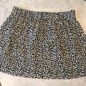 LOFT Fluid Pintuck Waist Skirt Animal Print